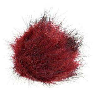 Rød mini pompon i kunstpels