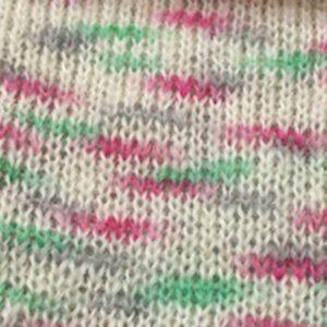Mohairgarn Bella Color by Permin 883155 Råhvid-Grøn-Pink