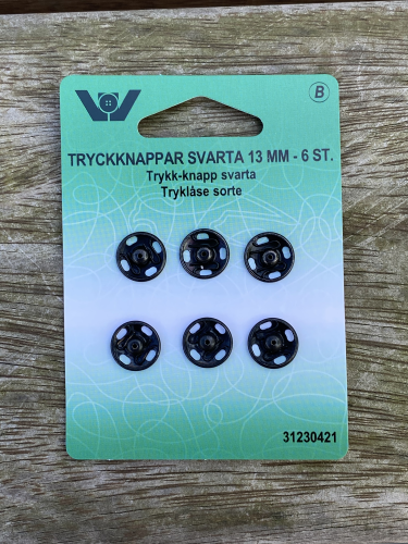 Tryklås sort 13 mm