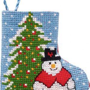 01-9216 Julestrømpe med gran og snemand