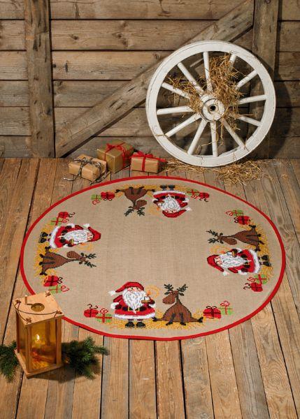 Juletræstæppe Julemand og Elg