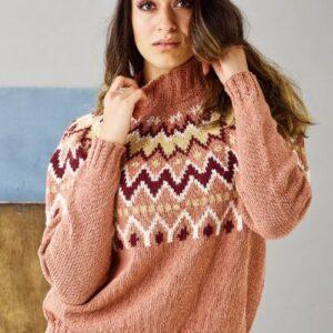 Strikkeopskrift på Sweater med mønstret bærestykke