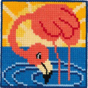 Børnebroderi med flamingo