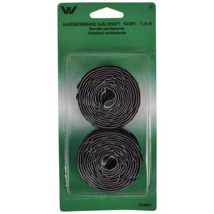 Gribebånd/Velcrobånd selvklæbende 1,25 meter Sort