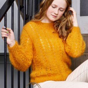 Strikkeopskrift på sweater med hulmønster