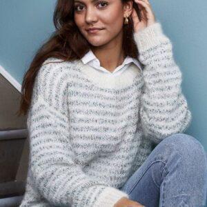 Strikkeopskrift på sweater med striber