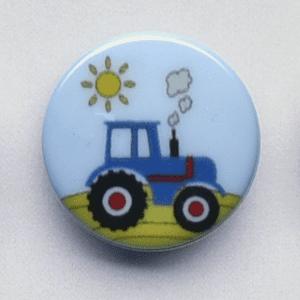 Knap med blå traktor