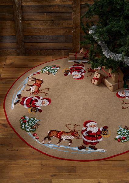 Juletræstæppe med julemand og rensdyr