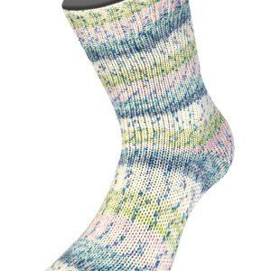 Garn Lana Grossa Seta Cocoon 3358 Sartrosa-Pistacie-Ecru-Grå-Grågrøn-Jeans sokker