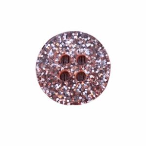 Plastikknap med glimmer og 2 huller Rosa