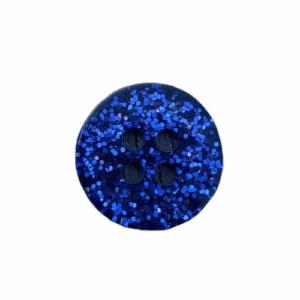 Plastikknap med glimmer og 2 huller Blå