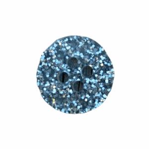 Plastikknap sølv-blågrå med glimmer