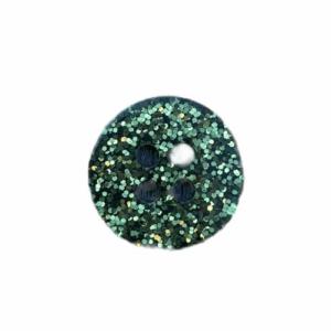 Plastikknap med glimmer og 2 huller Grøn